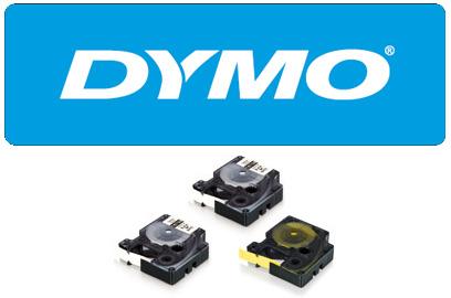 Dymo-neilona 19 mm, balta lenta / melns teksts