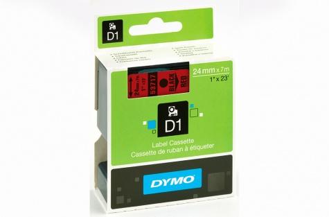 Самоклеющаяся лента, DYMO 53717, 24 мм, красная/чёрный текст