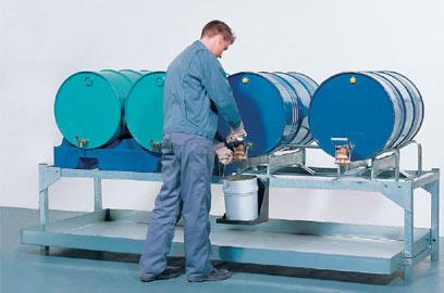 Plaukts-mucu glabāšanai un iztukšošanai AS 4 - 4 x 200 l