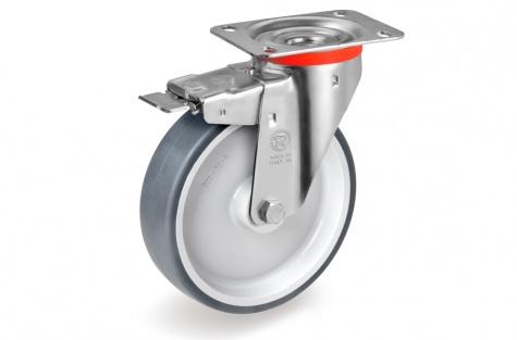 S71 Plaatkinnitusega, pöörduv, piduriga ratas, Ø 125 x 35 mm