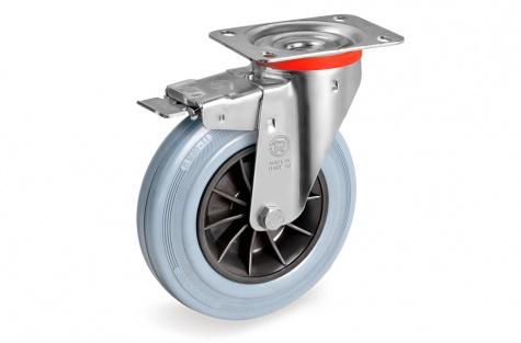 S22 Grozāms ritenis ar montāžas paneli un bremzēm, Ø 125x37,5 mm