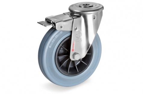 S22 Poltkinnitusega, pöörduv, piduriga ratas, Ø  80 x 25 mm, roostevaba