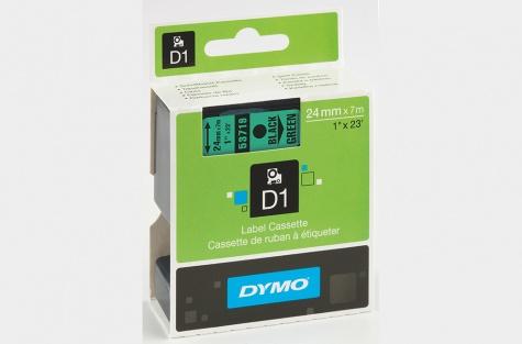 DYMO 53719, 24mm, roheline/must