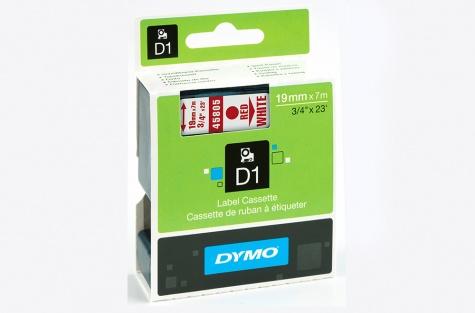 Printeru lente DYMO 45805, 19mm, balta/sarkans teksts