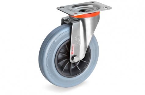 S22 Plaatkinnitusega, pöörduv ratas, Ø 125 x 37,5 mm, roostevaba
