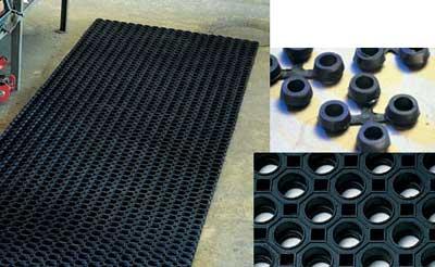 Коврик модульный из черной резины, 1500 х 1000 мм