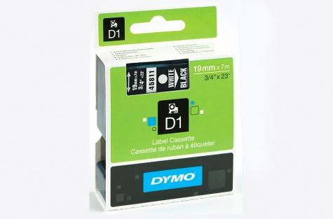 DYMO 45811, 19mm, must/valge