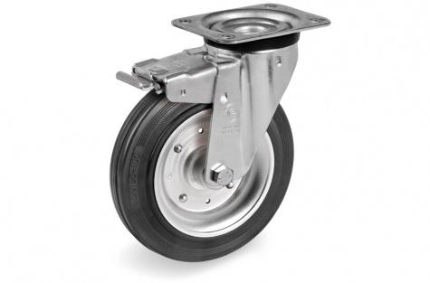 S53 Grozāms ritenis ar montāžas paneli un bremzi, Ø 80 x 25 mm