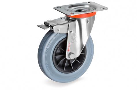 S22 Plaatkinnitusega, pöörduv, piduriga ratas, Ø  80 x 25 mm, roostevaba