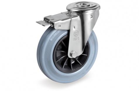S22 Poltkinnitusega, pöörduv, piduriga ratas, Ø 100 x 30 mm
