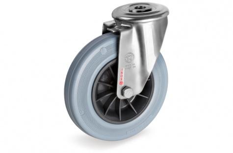 S22 Poltkinnitusega, pöörduv ratas, Ø 125 x 37,5 mm, roostevaba
