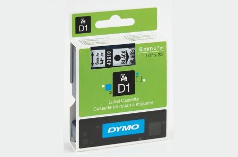 Самоклеющаяся лента, DYMO 43610, 6 мм, прозрачная/чёрный текст