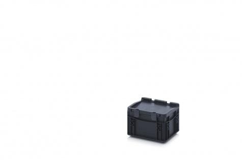ESD-noliktavas kaste ar vāku, 200 x 150 x 135 mm
