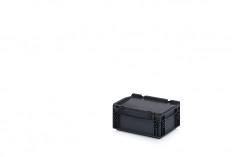 ESD-noliktavas kaste ar vāku, 300 x 200 x 135 mm