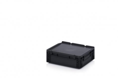 ESD uzglabāšanas kaste ar vāku, 400 x 300 x 135 mm