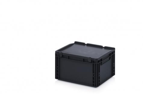 ESD uzglabāšanas kaste ar vāku, 400 x 300 x 235 mm