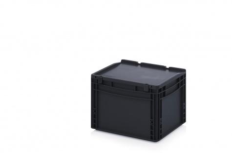 ESD-noliktavas kaste ar vāku, 400 x 300 x 285 mm