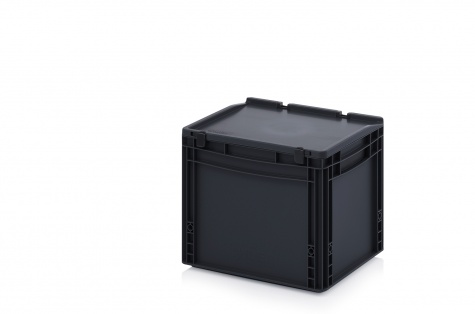 ESD-noliktavas kaste ar vāku, 400 x 300 x 335 mm