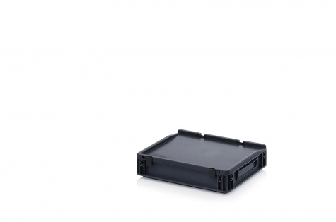 ESD-noliktavas kaste ar vāku, 400 x 300 x 90 mm