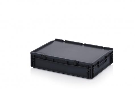 ESD-noliktavas kaste ar vāku, 600 x 400 x 135 mm