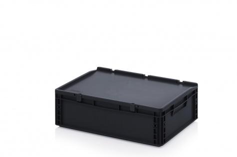 ESD uzglabāšanas kaste ar vāku, 600 x 400 x 185 mm