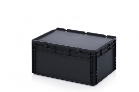 ESD-noliktavas kaste ar vāku, 600 x 400 x 285 mm
