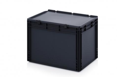 ESD-noliktavas kaste ar vāku, 600 x 400 x 435 mm