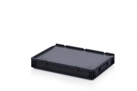 ESD-noliktavas kaste ar vāku, 600 x 400 x 90 mm