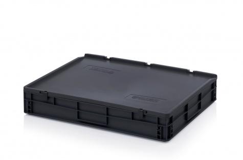 ESD-noliktavas kaste ar vāku, 800 x 600 x 135 mm