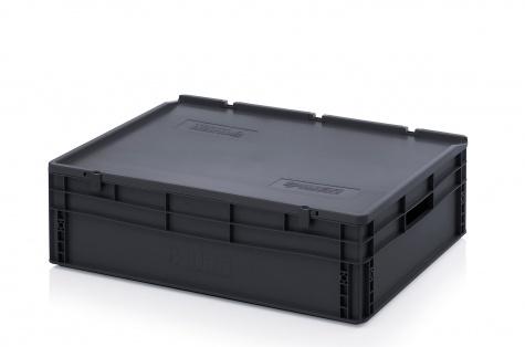 ESD-noliktavas kaste ar vāku, 800 x 600 x 235 mm