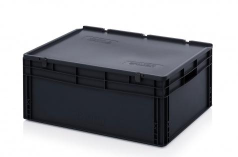 ESD-noliktavas kaste ar vāku, 800 x 600 x 335 mm