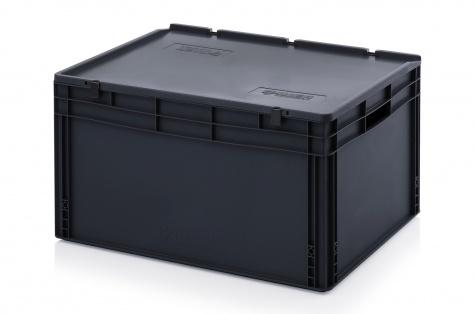 ESD-noliktavas kaste ar vāku, 800 x 600 x 435 mm