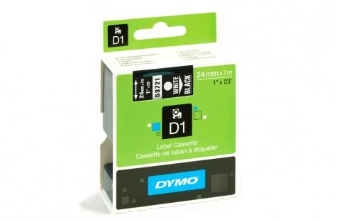 DYMO 53721, 24mm, must/valge