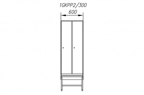 Garderoobikapp 1GKPP, pingiga, 2ukseline, uks 300 mm