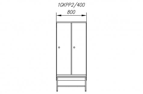Garderoobikapp 1GKPP, pingiga, 2ukseline, uks 400 mm