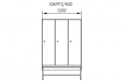 Garderoobikapp 1GKPP, pingiga, 3ukseline, uks 400 mm