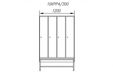 Garderoobikapp 1GKPP, pingiga, 4ukseline, uks 300 mm
