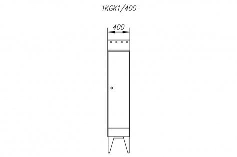 Garderoobikapp 1KGK, kaldkatusega, 1ukseline, uks 400 mm