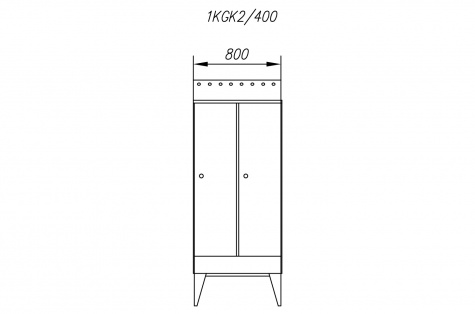 Garderoobikapp 1KGK, kaldkatusega, 2ukseline, uks 400 mm