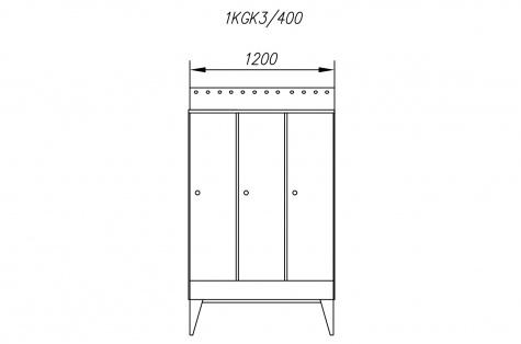 Garderoobikapp 1KGK, kaldkatusega, 3ukseline, uks 400 mm