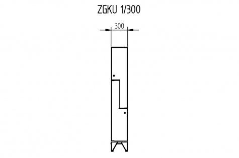 Garderoobikapp ZGKU, Z-uksega, 2ukseline, uks 300 mm