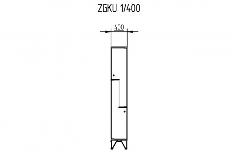 Garderoobikapp ZGKU, Z-uksega, 2ukseline, uks 400 mm
