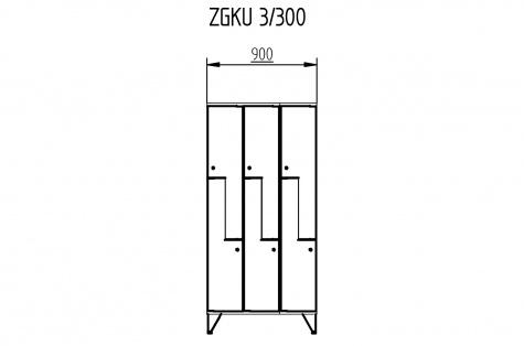Garderoobikapp ZGKU, Z-uksega, 6ukseline, uks 300 mm