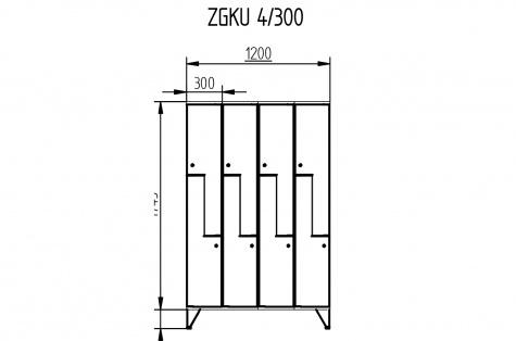 Garderoobikapp ZGKU, Z-uksega, 8ukseline, uks 300 mm
