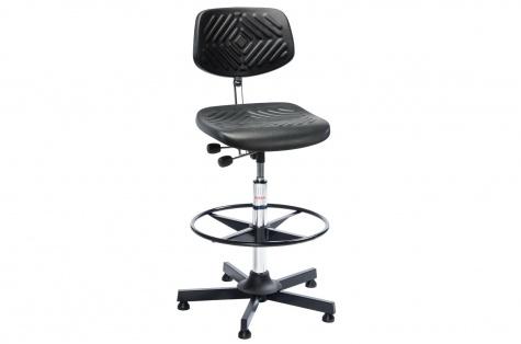 Augsts darba krēsls Prestige ar riņķveida balstu kājām, melns