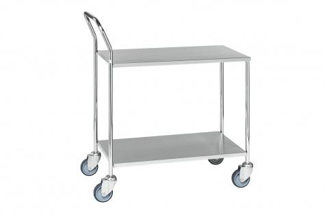 Roostevaba riiulkäru, 2-riiuliga, piduriga rattad