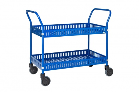 Korvkäru, 2-riiuliga, sinine, piduriga rattad