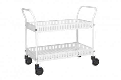 Korvkäru 950 x 540 mm, valge, piduriga rattad