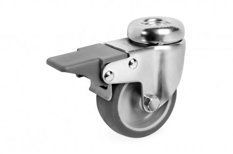 S38 pagriežams mēbeļu ritenis ar bremzi, Ø 80 mm