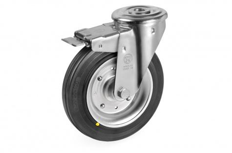 S53 Grozāms ritenis ar skrūves stiprinājumu un bremzi,  80 x 25 mm